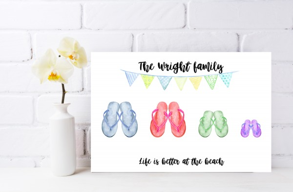 Watercolour Flip Flop Canvas