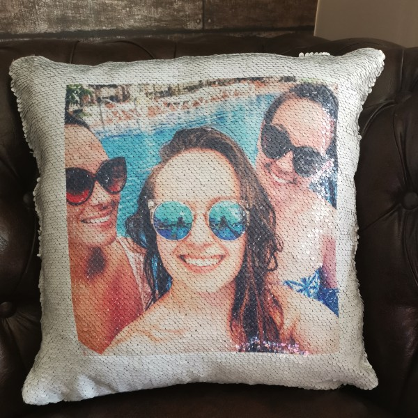 Photo magic sequin cushion