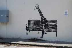 Giraffe-on-a-bench